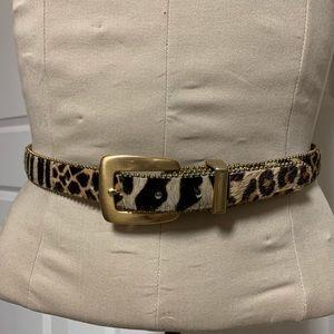 VTG Animal Calf Hair Patch Print Gold Thin Belt S